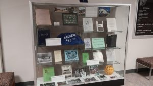 Display within high traffic area of Bailey Library, Slippery Rock University.